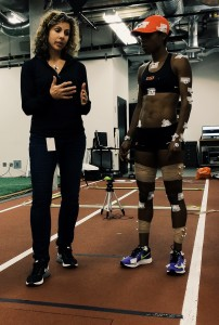 Dr. Barnes (left) working with Treniere Moser, a 1500m runner and member of the Oregon Project