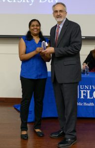 Kavya Kamalamma, a second-year Rehabilitation Science Ph.D. student, was one of the top two oral presenter winners at the 2018 PHHP Research Day.