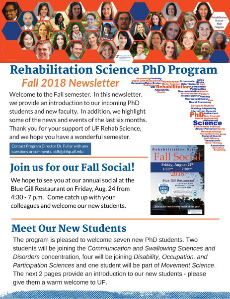 Picture of front page of the Fall 2018 Rehabilitation Science Newsletter