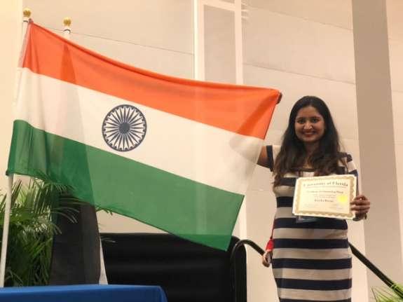 Bansal with her International Student Achievement Award