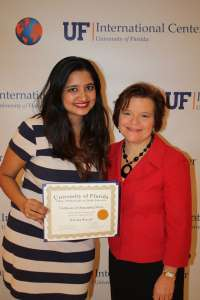Bansal with her International Student Achievement Award pictured alongside her mentor Dr. Dorian Rose