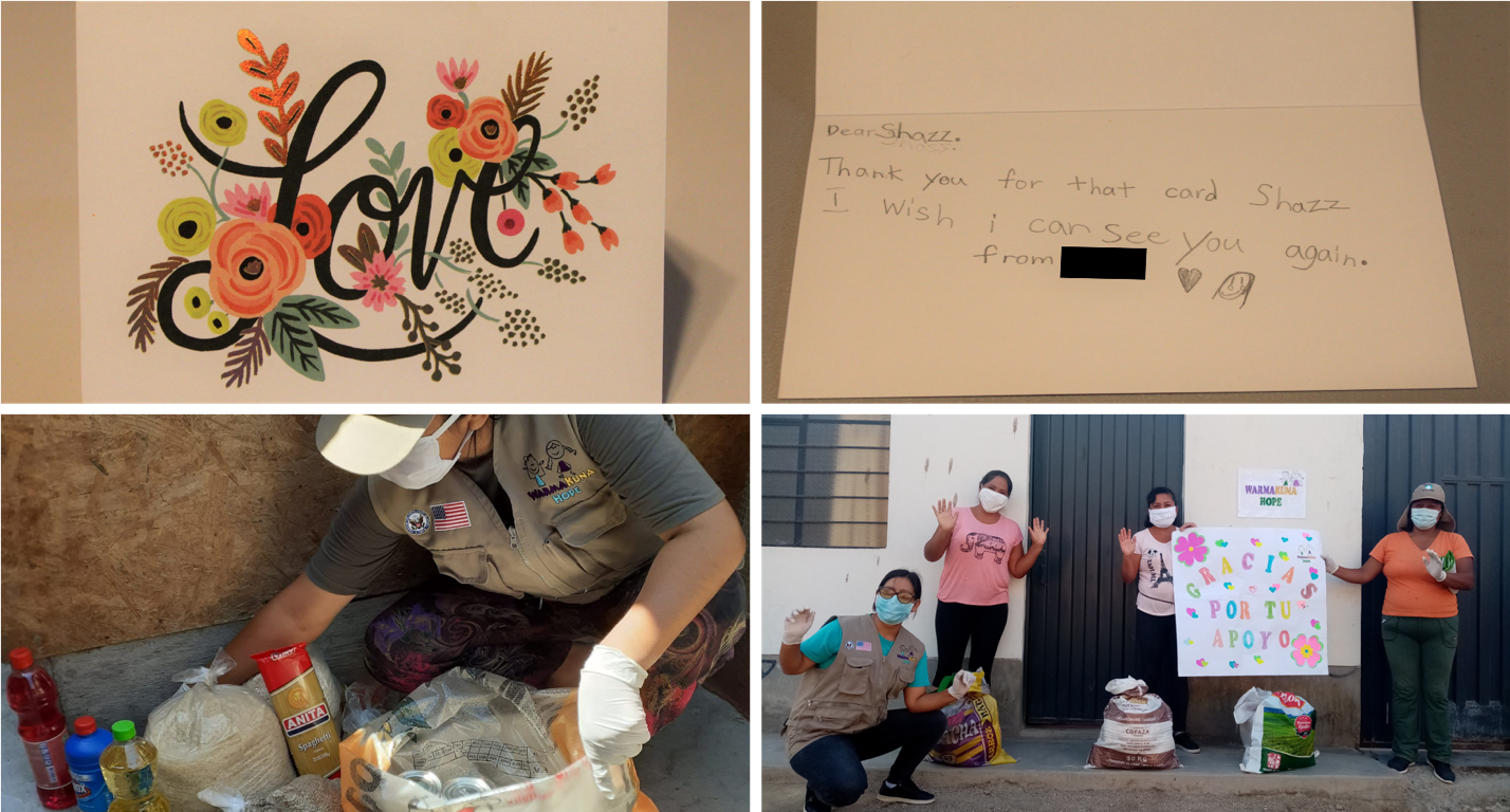 "Top left and right: A letter to Sharon ""Shazz"" Mburu from a child mentee in the community. Bottom left: A Warmakuna Hope team member preparing a bag of groceries for a Peruvian family. Bottom right: The Warmakuna Hope team delivering grocery and toiletries to families affected by COVID19."