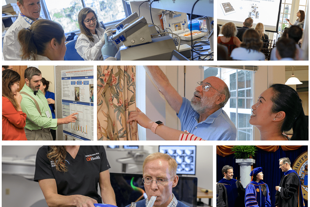 photo collage of all 3 specialties housed within the Rehabilitation Science PhD program